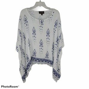 Cowgirl Up Western Blouse Women's White Blue Allov